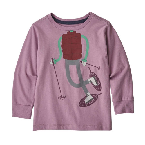 Bluza Copii 0-5 ani Patagonia Baby L/S Graphic Organic T-Shirt Verbena Purple
