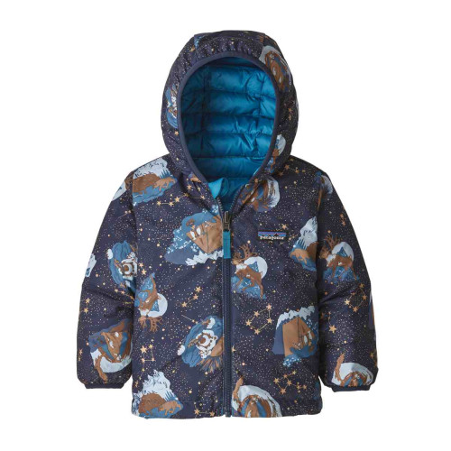 Geaca Puf Reversibila Copii 0-5 ani Patagonia Baby Reversible Down Sweater Hoody Stories by Starlight / New Navy