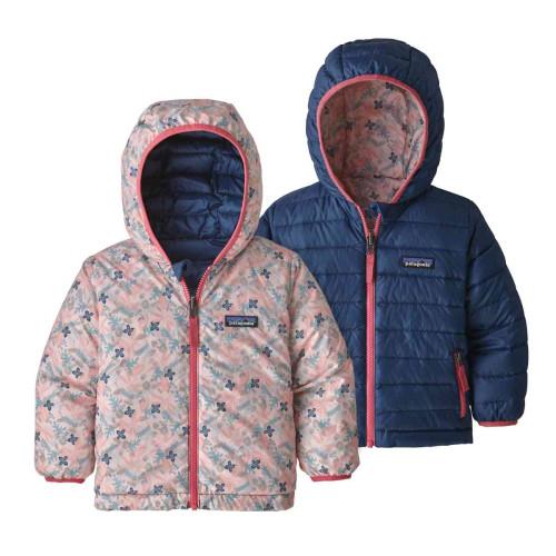 Geaca Puf Reversibila Copii 0-5 ani Patagonia Baby Reversible Down Sweater Hoody Woodland Floral / Prima Pink